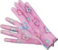 GARDEN POLYESTER GLOVES WITH PU PALM COATING WITH LIGHT ROSE FLOWER PRINTING